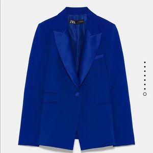 Zara tuxedo blazer bloggers favorite silk collar
